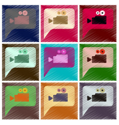 set of flat icons in shading style cinema camera vector image