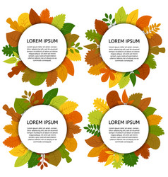 set of four card with yellow leaves vector image