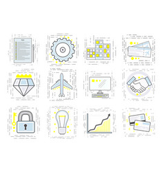 set of modern linear business icons signs for the vector image