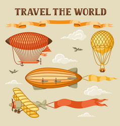 set retro air transport vintage aerostat vector image