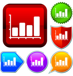Set shiny icon series on buttons chart vector