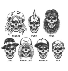 set subculture skulls vector image
