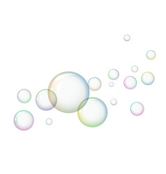 soap bubbles with reflections on a white vector image