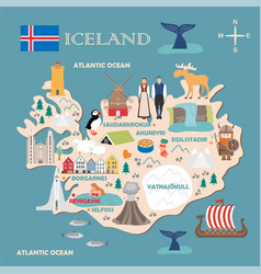 Stylized map iceland vector