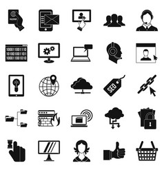Telephone base icons set simple style vector