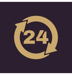 The 24 hours icon Twenty-four hours open symbol vector