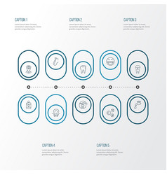 tooth icons line style set with mouthwash water vector image