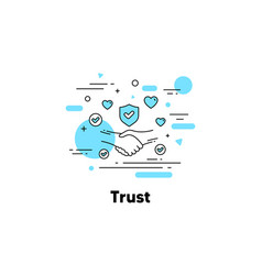 Trust line icon partnership deal friendship and vector