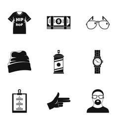 urban rap icon set simple style vector image