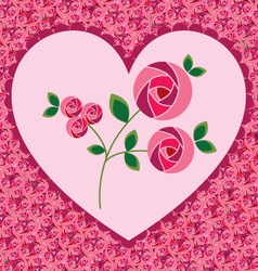 Valentine heart on roses vector