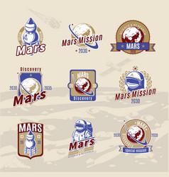 Vintage colored mars exploration labels set vector