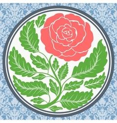Vintage rose in round frame vector image