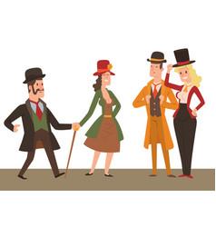 Vintage victorian cartoon gents retro people vector