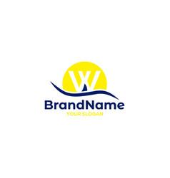 W sail ship logo design vector