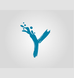 Water splash initial y letter logo icon blue vector