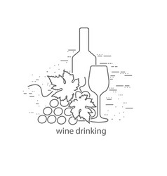 wine bottle and glass thin flat design vector image