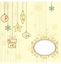 Winter background with christmas ornaments vector image