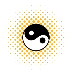 Ying yang icon comics style vector image