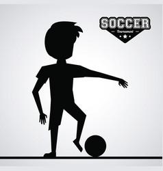 black silhouette faceless athlete football player vector image