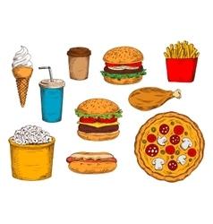 Burger menu sketch symbol with desserts and drinks vector image