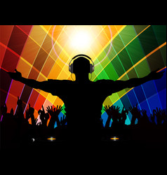dj and crowd silhouette on multicoloured vector image vector image
