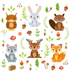 forest animals in cartoon style characters vector image vector image