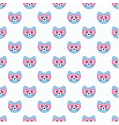 seamless pattern with cute blue cats and glasses vector image