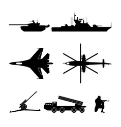 Black silhouettes of military equipment vector image