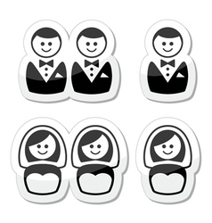 Gay esbian marriage icons set vector image vector image