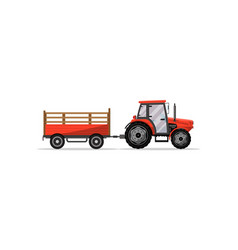 heavy wheeled tractor with trailer icon vector image vector image