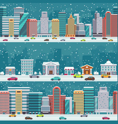 Winter city streets with cars and buildings vector