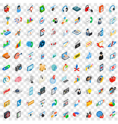 100 seo icons set isometric 3d style vector image vector image