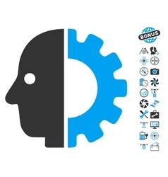 Cyborg Head Icon With Air Drone Tools Bonus vector image vector image