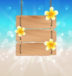 Hanging wooden signboard with tropical flowers vector image vector image