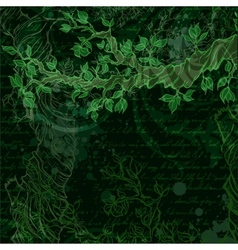 Night vintage garden background with tree branch vector image vector image