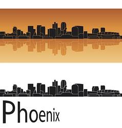 Phoenix skyline in orange background vector image vector image