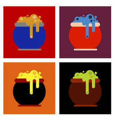 assembly flat icons halloween witches cauldron vector image