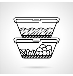 Lunch boxes black line icon vector image