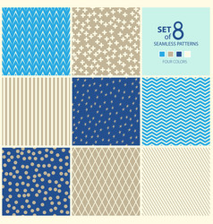 set of eight geometric seamless patterns vector image vector image
