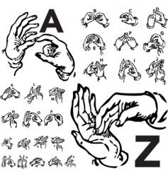 sign language set woodcut vector image vector image