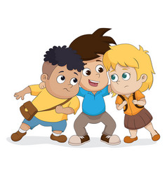 the child group talking plan together vector image