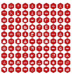100 delivery icons hexagon red vector