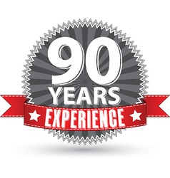 90 years experience retro label with red ribbon vector