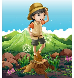 A girl standing above the stump across the vector