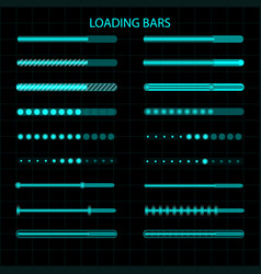 A loading bar a set of led luminescent loading vector