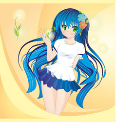 anime style girl with blue hair and green eyes vector image