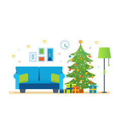 atmosphere of new year furniture for relaxing vector image