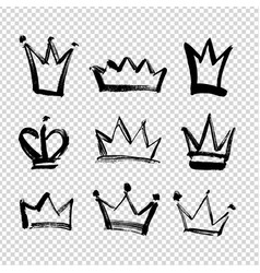 Brush strokes crowns different shapes isolated vector