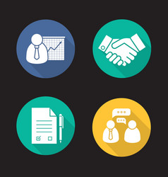 Business and partnership flat design long shadow vector