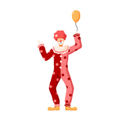 cartoon colorful person wearing clown costume vector image
